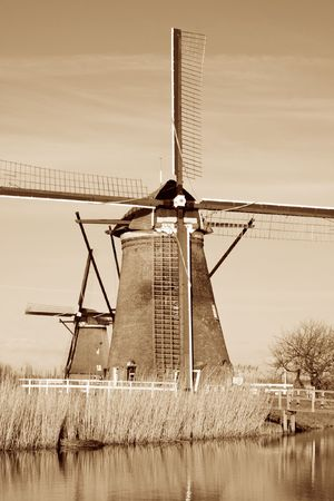 Ditch windmill in Kinderdijk. South-Holland Stock Photo - 7671427