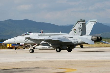 HYERES, FRANCE - JUNE 13: US Navy VFA-105  F/A-18E Super Hornet at the celebration of 100 years French Navy Aviation on June 13, 2010 in Hyeres, France Stock Photo - 7659888