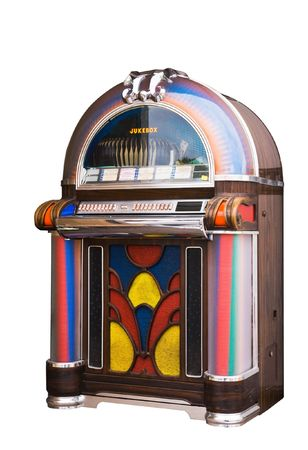 colourful vintage wooden jukebox photo