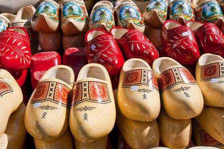 Famous traditional Dutch wooden clogs