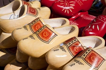 Famous traditional Dutch wooden clogs photo