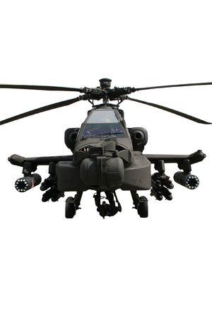 白で隔離され完全に武装した軍隊 AH-64 アパッチ攻撃ヘリコプター