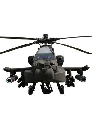 defense: Fully armed army AH-64 Apache attack helicopter isolated on white Stock Photo
