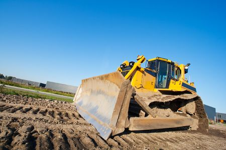 Yellow bulldozer at work Stock Photo - 8032370