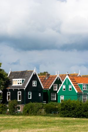 marken: Traditional houses in the town of Marken, Holland  Stock Photo