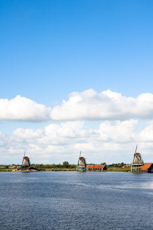 Windmills at the famous Zaanse Schans in Holland Stock Photo - 8093460