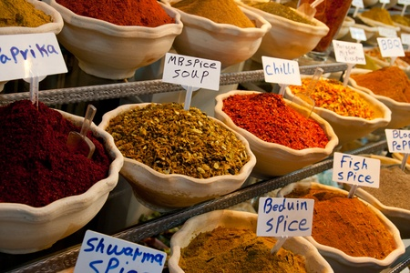 oriental cuisine: Spices at a market