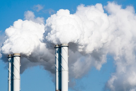 emissions: Smoke from factory pipes Stock Photo