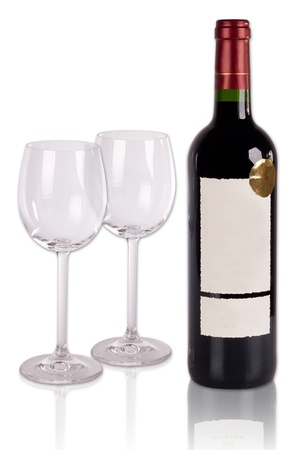 Wine glasses and bottle isolated photo