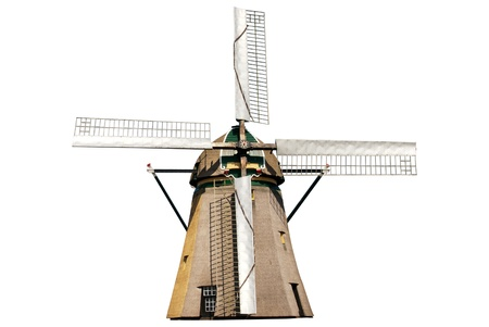 Dutch windmill isolated photo