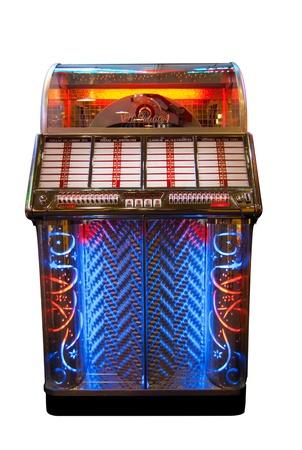 colour box: Retro jukebox isolated on white