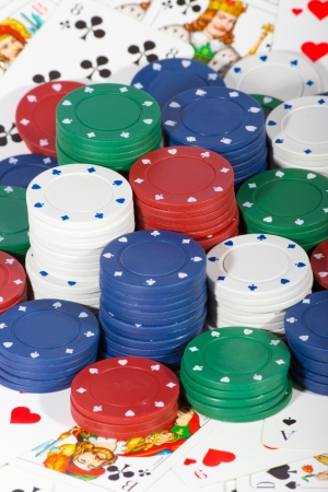 Casino chips and cards Stock Photo - 14412042