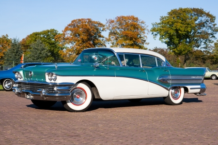 ROSMALEN, THE NETHERLANDS - OCTOBER 15: 1958 Buick Super shown at the Rock Around the Jukebox event on October 15, 2011 in Autotron Rosmalen, Holland