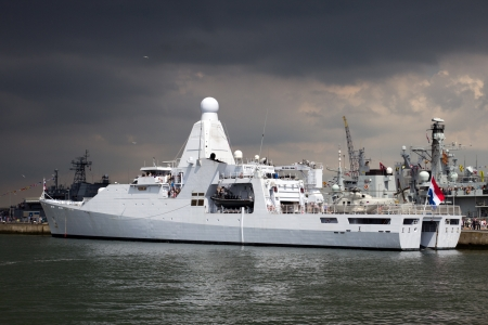 DEN HELDER, THE NETHERLANDS - JULY 7: Brand new patrol ship Hr.Ms. Holland of the Dutch Navy open for visits during the Dutch Navy Days on July 7, 2012 in Den Helder, The Netherlands