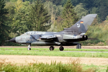BEAUVECHAIN, BELGIUM - SEPTEMBER 15: A German Air Force Tornado fighter plane taking off during the European Trainer Meet at Beauvechain airbase on September 15, 2005 in Beauvechain, Belgium.