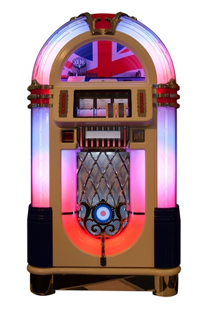 Vintage jukebox isolated in white