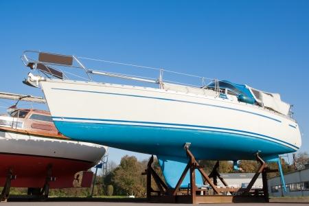 Yacht on a drydock for maintenance