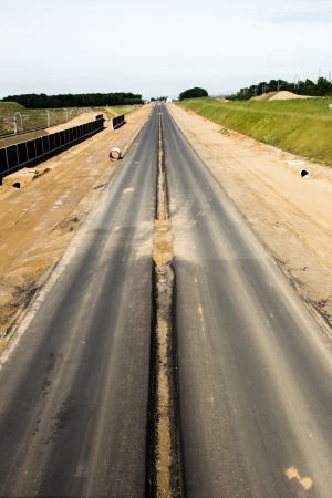 asphalting: Newly build autobahn in Germany  Stock Photo