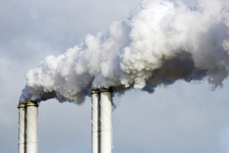 Factory pipes smoke emission