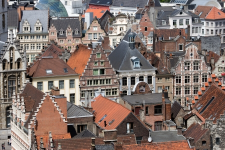 gabled: GHENT - JUN 18: View on the historical center of Gent with its gabled houses on June 18, 2013 in Ghent, Belgium. The city is a municipality located in the Flemish region of Belgium.