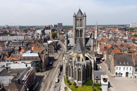 GHENT - JUN 18: View on the St Bavos Cathedral of Gent on June 18, 2013 in Ghent, Belgium. The city is a municipality located in the Flemish region of Belgium.