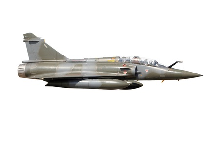 mirage: isolated camouflaged fighter jet