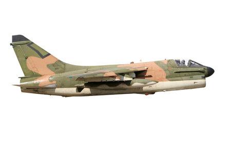 interceptor: Vietnam era camouflaged A-7 Corsair fighter jet isolated