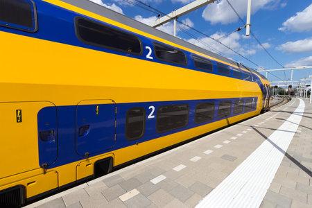 Intercity train at Arnhem Central Station, The Netherlands  Editorial