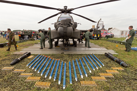weaponry: VOLKEL, NETHERLANDS - JUNE 14: Weaponry of a  Dutch Air Force AH-64 Apache on display at the Royal Netherlands Air Force Days June 14, 2013 in Volkel, Netherlands.  Editorial