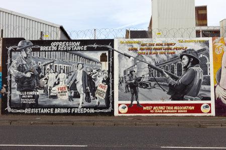 벨파스트, 북 아일랜드 - 2014년 2월 9일 : 벨파스트, 북 아일랜드의 정치 벽화입니다. 폭포 도로 정치적 벽화로 유명합니다. 에디토리얼