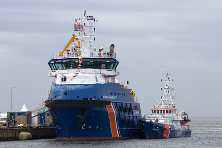 coastguard: DEN HELDER, THE NETHERLANDS - JUNE 23: Dutch Coastguard boats during the Dutch Navy Days on June 23, 2013 in Den Helder, The Netherlands