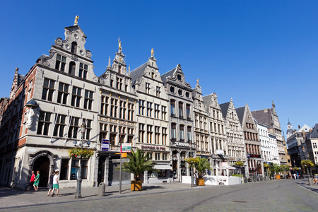 ANTWERP - JULY 9: Houses of Grote-Markt in the historical centre on July 9, 2013 in Antwerp, Belgium. Antwerp is the second biggest city in Belgium with population of 512,000.