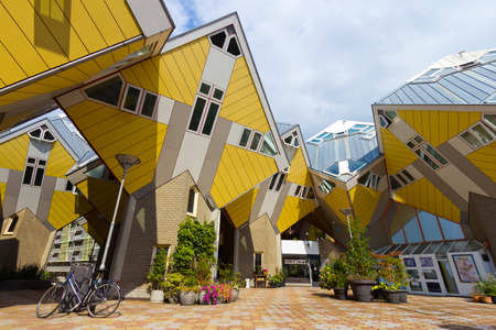 ROTTERDAM, Netherlands - Sep 8: Cube houses designed by Piet Blom on Sep 8, 2013 in Rotterdam, Netherlands. The design represents a village where each house represents a tree. All the houses together a forest.
