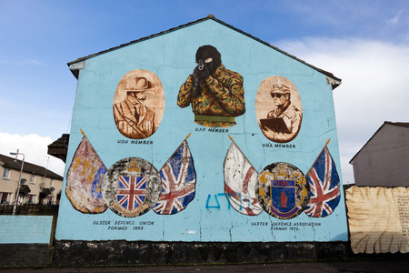 murals: BELFAST, NORTHERN IRELAND - FEB 9, 2013: Mural in Protestant Shankill Road area of Belfast, Northern Ireland. Shankill was a centre for loyalist paramilitarism during the Troubles.