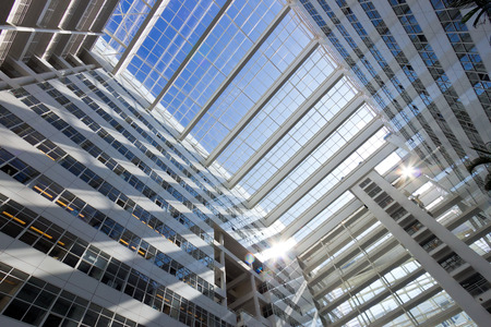 sq: THE HAGUE - JULY 18: Interior of The Hague City Hall. Designed by R. Meier and build in 1995. 4,500 sq. meter atrium flanked by two 10- and 12-storey buildings. July 18, 2013 The Hague, Netherlands  Editorial