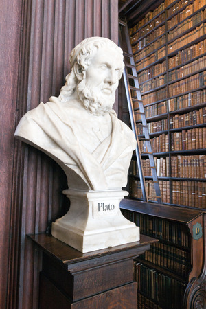 DUBLIN, IRELAND - FEB 15  Head sculpture of Plato in the Long Room in the Trinity College Library on Feb 15, 2014 in Dublin, Ireland  Trinity College Library is the largest library in Ireland and home to The Book of Kells