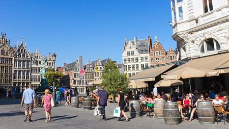 ANTWERP - JULY 9  People on the Grote-Markt in the historical centre on July 9, 2013 in Antwerp, Belgium  Antwerp is the second biggest city in Belgium with population of 512,000