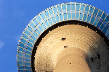 rhine westphalia: DUSSELDORF - JUNE 6  Rhine Tower  Rheinturm  on June 6, 2013 in Dusseldorf  It carries aerials for radio, FM and TV transmitters and with its 240 5 meter it is the tallest building in Dusseldorf  Editorial