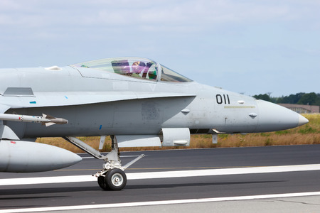 f18: SCHLESWIG, GERMANY - JUNE 23  Swiss Air Force F A-18C Hornet at the NATO Tigermeet on June 23rd, 2014 in Schleswig, Germany  Editorial