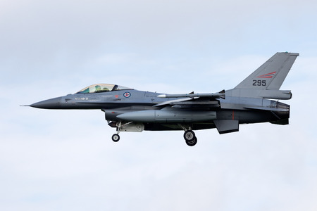 LEEUWARDEN, THE NETHERLANDS - APRIL 20: Norwegian Air Force Lockheed F-16 landing during the exercise Frisian flag 2012. Leeuwarden Airbase April 20, 2012 in Leeuwarden, The Netherlands