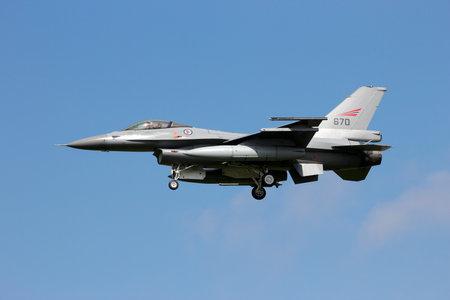 leeuwarden: LEEUWARDEN, THE NETHERLANDS - APRIL 20: Norwegian Air Force Lockheed F-16 landing during the exercise Frisian flag 2012. Leeuwarden Airbase April 20, 2012 in Leeuwarden, The Netherlands