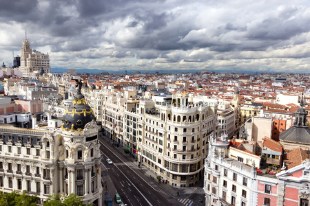 Panoramic aerial view of Gran Via, main shopping street in Madrid, Spain. Imagens