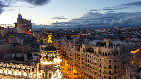 aerial: Panoramic aerial view of Gran Via, main shopping street in Madrid, Spain. Stock Photo