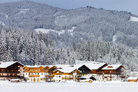Hotels near a ski piste in the European Alps.