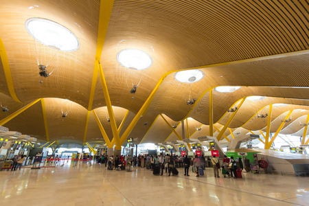 barajas: MADRID - OCT 11: Departures terminal at Madrid Barajas International Airport on Oct 11, 2014 in Madrid, Spain.  The airport is Spain