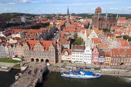 gdansk: View over the historical city center of Gdansk in Poland