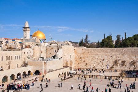 JERUSALEM, ISRAEL - JANUARY 23: Jewish worshipers pray at the Wailing Wall January 23, 2011 in Jerusalem, Israel.