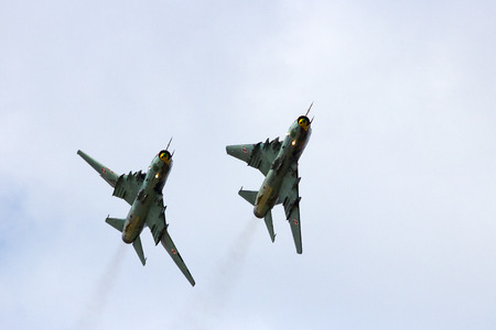 supersonic transport: Polish Sukhoi Su-22 bomber planes flyby. Stock Photo