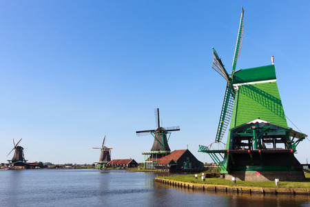typically dutch: Dutch windmills Stock Photo