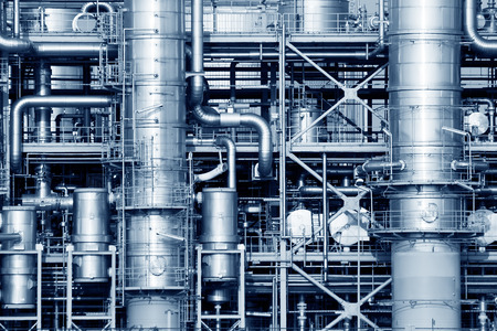 rafinery: Pipelines of a oil and gas refinery industrial plant.